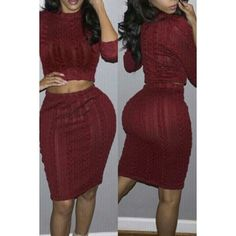 Brief Round Collar Claret 3/4 Sleeve Crop Top and Skirt Twinset For Women