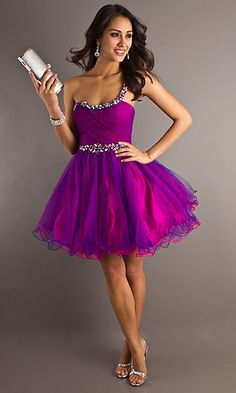 Purple,Sparkly, & Poofy just to cute! The perfect Homecoming dress.