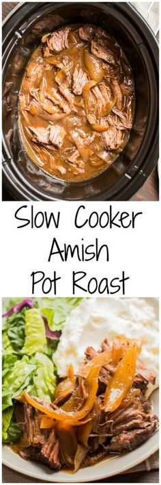 Slow Cooker Amish Pot Roast. This recipe has a few secret ingredients that you wouldn't expect!