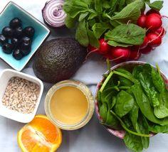 Skinny salade met sinaas-tahin dressing