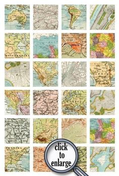 Maps! Cut 15in Squares out of maps and make a great wall collage!