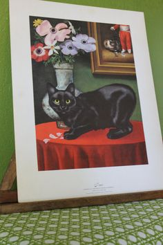Vintage Print of Manx Cat by exlibrisetcetera on Etsy, $8.00