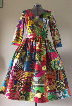 Robe en Wax africain imprimé Patchwork véritable Midi par WithFlare