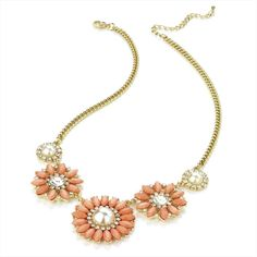 Gold Colour Crystal, Pearl Effect and Pink Bead Flower Chain Necklace - Vallé Jewellery and Accessories