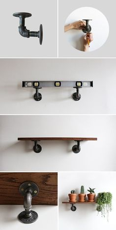 A DIY Industrial Shelving Unit for anywhere in your home! Perfect for an Indoor Garden or some favorite b A DIY Industrial Shelving Unit for anywhere in your home! Perfect for an Indoor Garden or some favorite books. Industrial Shelving Units, Design Industrial, Industrial House, Industrial Style, Industrial Farmhouse, Industrial Restaurant, Industrial Apartment, Farmhouse Style, Industrial Office