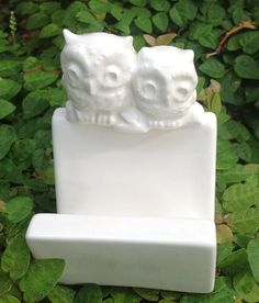 owl business card holder recipe holder office decor by muddyme, $18.00
