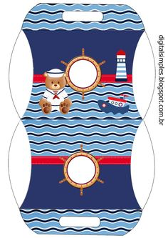Nice Sailor Bear: Free Printable Invitations, Boxes and Free Party Printables. Party Printables, Free Printable Invitations, Baby Shower Printables, Baby Shower Invitations, Sailor Theme, Baby Food Jar Crafts, Baby Shower Gift Bags, Eid Cards, Baby Boy Cards