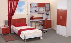 Teenage Bedroom Furniture Bedroom : Alluring Minimalist Teen Bedroom Furniture With Mdf Teen Bedroom Desk, Teen Room Furniture, Luxury Bedroom Furniture, Bedroom Red, Single Bedroom, Woman Bedroom, Bedroom Decor, Bedroom Ideas, Furniture Ideas