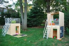 Play Modern Playhouses   Modern, modular, eco-friendly playhouses. The natural birch finish is for indoors. The Mahogany finish is for outdoors. One- and two-story configurations are possible. Limitless configurations. Photos courtesy of Iiams Images and Play Modern Ltd.