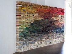 A book wall installation by Anouk Kruithof on we heart it / visual bookmark #45469498