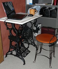 Old sewing table into small desk... need to find one of these for my 'craft room' table