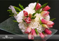 carnations and tulips, all blush pink!