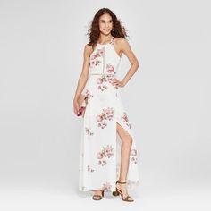 571992a10c6 Women s Floral Print Halter Maxi Dress - Love   First Sight (Juniors ) White
