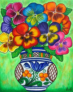 "Popular Folk Embroidery Pansy Parade by Lisa Lorenz - ""Pansy Parade"" by Lisa Lorenz: Funky, Colorful pansies in a Hungarian Vase painted in a creative, stylish composition Mexican Artwork, Mexican Paintings, Mexican Folk Art, Art Floral, Hispanic Art, Mexican Flowers, Mexico Art, Decoupage Vintage, Naive Art"