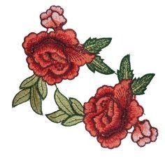 2 PCS brodé fleurs rouges Roses Patches Appliques