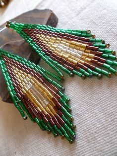 Beaded Earrings Tree Fall by GemRio on Etsy, $24.00