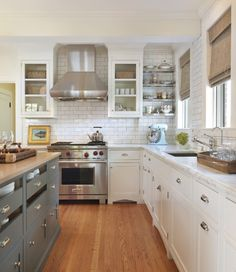 gray/blue + white cabinets