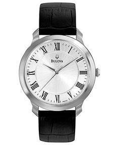 Bulova Watch, Men's Black Leather Strap 41mm 96A133