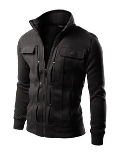 Doublju Mens Casual Highneck Zipup Jacket Maybe black is more practical?