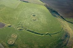 An aerial view of Windmill Hill at Avebury