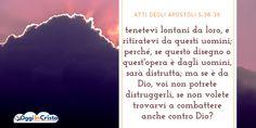 Dopo averli portati via, li presentarono al sinedrio; e il sommo sacerdote li interrogò, dicendo: «Non vi abbiamo forse espressamente vietato di insegnare nel nome di costui? Ed ecco, avete riempito Gerusalemme della vostra dottrina, e volete far ricadere su di noi il sangue di quell'uomo». Ma Pietro e gli altri apostoli risposero: «Bisogna ubbidire a Dio anziché agli uomini.   #Atti #evangelizzazione