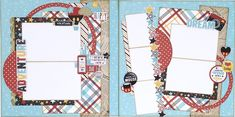 Disney themed scrapbook layout. Scrapbooking layout for Disneyland, mickey mouse, and goofy photos. #disneyscrapbookpages #disneyscrapbookingideas #echoparkpaper #echoparkmakeawish