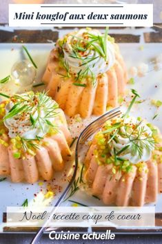 Mini kouglof with two salmon - Trend Noodle Side Dish Recipes 2019 Side Dish Recipes, Healthy Dinner Recipes, Vegetable Recipes, Beef Recipes, Unique Recipes, Ethnic Recipes, Seafood Appetizers, Queso, Food Videos
