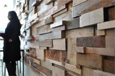 Slowpoke espresso, Fitzroy, Melbourne,  - Wall made from mismatched wood pieces at different depths