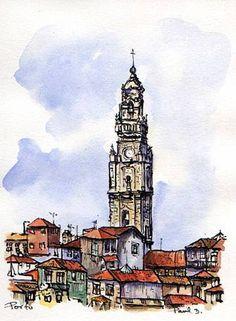 Some of my design and illustration work Travel Sketchbook, Art Sketchbook, Pen And Watercolor, Watercolor Artists, City Sketch, Urban Sketchers, Country Art, Moleskine, Graffiti Art