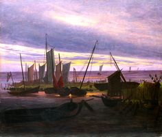 Caspar David Friedrich, Boats in the Harbour at Evening, c. 1828, Oil on canvas, 76,5 x 88,2 cm on ArtStack #caspar-david-friedrich #art