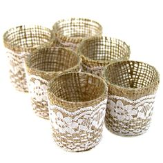 Lace Burlap Wrapped Glass Votive Candle Holders [SK23550 Lace Burlap Votives] : Wholesale Wedding Supplies, Discount Wedding Favors, Party Favors, and Bulk Event Supplies