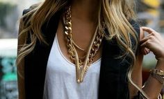 Gold plated neck piece, chunky and trendy