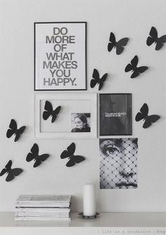 Black & White Home Decor Inspiration : DIY Cardboard Butterflies White Home Decor, Diy Home Decor, Black Decor, Diy Vintage, Ideas Hogar, Diy Cardboard, Do It Yourself Home, Cool House Designs, Home Decor Inspiration