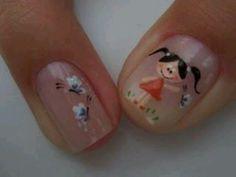 Uñas Cute Nail Art, Cute Nails, Pretty Nails, Gel Nails, Acrylic Nails, Colorful Nail Designs, Nail Colors, Finger, Hair Beauty
