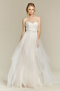 Cherry Blossom two-piece bridal ball gown, tulle overdress with draped pick up skirt and corset bodice, strapless lace sheath underlay can be worn separately. Blush, Fall 2015
