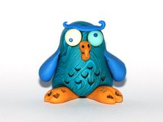 Owl Figurine - goofy marbled blue bird glow in the dark eyes funny fantasy miniature - cute OOAK polymer clay figure of the magical forest  by RoSCreatures, $24.00  @Pompon Designs