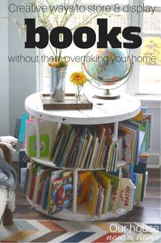 These are such simple and creative ways to decorate, store or display your books! A ton of options to hide the clutter and enjoy your home! A few kids decor ideas as well ways to have books in your living room. Storing Kids Books, Decorating Your Home, Diy Home Decor, Decorating Ideas, Kids Decor, Decor Ideas, Diy Ideas, Room Ideas, Getting Organized