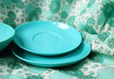 Atomic Aqua Melamine Dinnerware Set Vintage by OttolinesOddities, $15.00