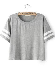 Grey Striped Short Sleeve Crop Top
