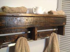 Handmade Reclaimed Pallet Wood Shelf - Entry Organizer - Coat Rack - Bathroom Shelf
