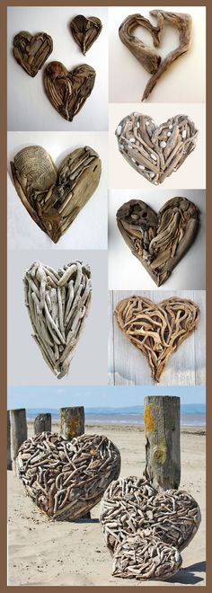 a collection of driftwood hearts found on Pinterest