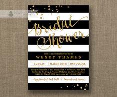 Black & White Stripe Bridal Shower Invitation by digibuddhaPaperie