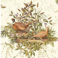 FG36012 Neutral Pheasant Toile Wallpaper - Field Guide by Belair Studios