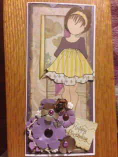 Birthday card using Prima mixed media doll stamps.