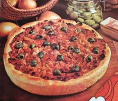 Pizza alle Olive - Pizza with Olives, Onions and Bacon