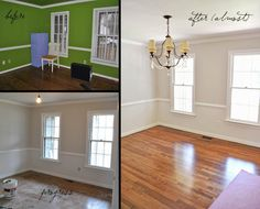 Dining Room Makeover! 2501 Tanglebrook Rd, Midlothian Virginia in Brandermill For Sale $274,000 Behr Silver Drop on the walls and Minwax Floor Stain in 50/50 blend of provincial and dark walnut on red oak floors
