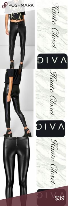 "Zip Up Legging Cute ""Wet Leather"" look zip up legging. Awesome pant to mix and match with a variation of styles. New Arrival Pants Leggings"