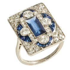 Art Deco Natural Burmese Sapphire and Diamond Plaque Ring, circa 1920 1