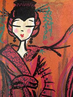 """Geisha's New Kimono - 8 x 10"""" mixed media on canvas by AlabasterandObsidian on Etsy"""