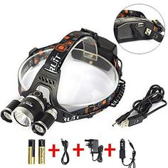 Latest Version Boruit 3*CREE XM-L2 Headlamp(US imports light source); 4 mode: low(1*T6)/middle(2*T6)/high (3*T6)/strobe(3*T7), output bright can come to max 6000 lumens, Illuminating Distance: 500 Meters. Made of aluminum alloy, very durable; Internal wiring applies the high efficient booster circuit; Working voltage is wide and can utilize the batteries in the largest extent; Multi function battery box, it can be directly charged by the charger, it can also charge their cell p...